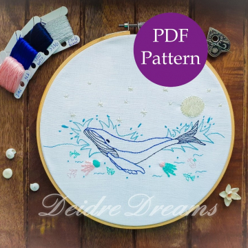 Photo of whale finished embroidery with PDF pattern sticker