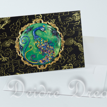 Black Peacock Greeting Card with White Envelope
