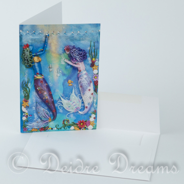 Mermaids in Underwater Scene Greeting Card with Envelope