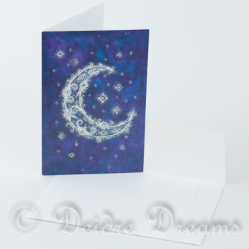 Crescent Moon Greeting Card with White Envelope