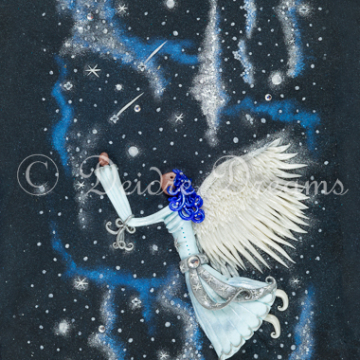 Angel in Starry Skies Greeting Card Print Design