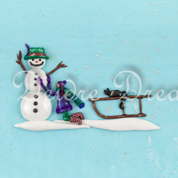 Snowman Christmas Greeting Card Print Design