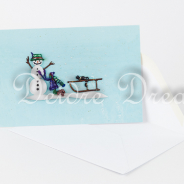 Snowman Christmas Greeting Card with Envelope