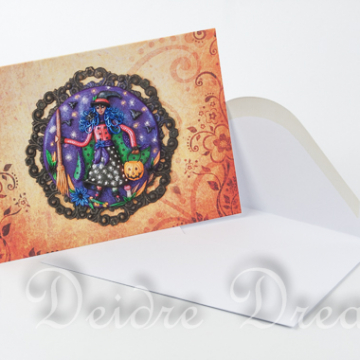 Trick or Treat Witch Art Greeting Card with White Envelope