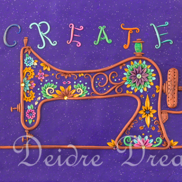 Create Sewing Machine Doodle Design Print