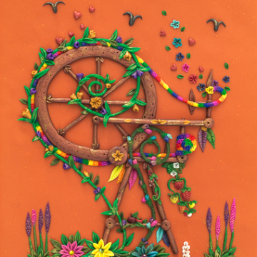 Spinning Wheel Greeting Card Print Design