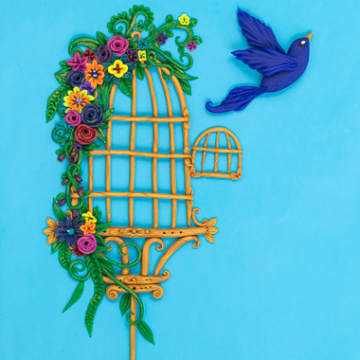 Bird Flying from Birdcage Greeting Card Print Design