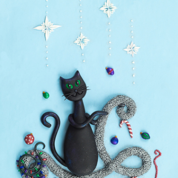 Christmas Cat Playing with Tinsel Design Print