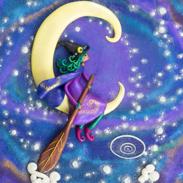 Witch Sailing in Crescent Moon Design Print