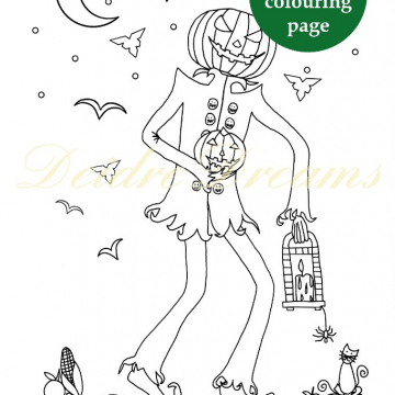 Jack o Lantern colouring page with sticker and watermark