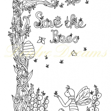 Save the Bees colouring page with watermark