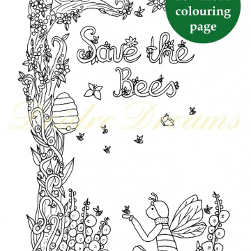 Save the Bees colouring page with sticker and watermark