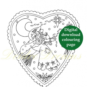 Witch colouring page with sticker and watermark