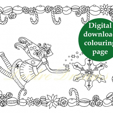 Baker fairy colouring page with sticker and watermark