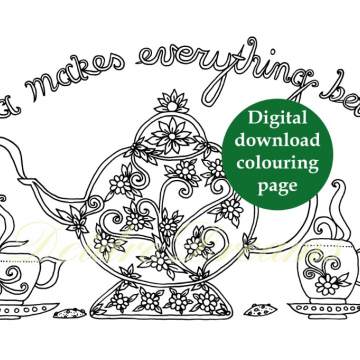 Tea makes everything better colouring page with sticker and watermark