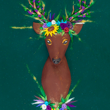 Close Up of Deer with Flower Crown Polymer Clay Sculpted Painting