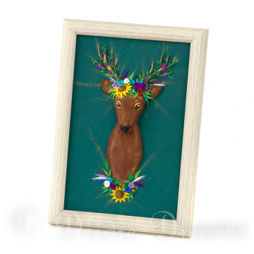 Deer with Flower Crown Polymer Clay Sculpted Painting