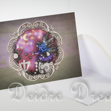 Overview of Goth Fairy Greeting Card and Envelope