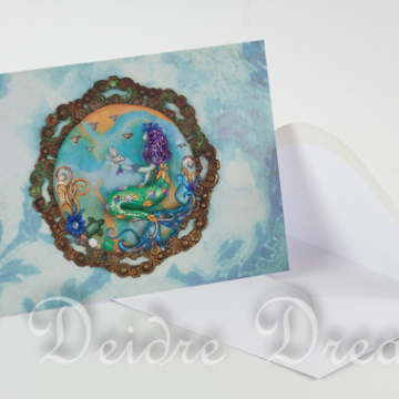 Overview of Mermaid Greeting Card and Envelope