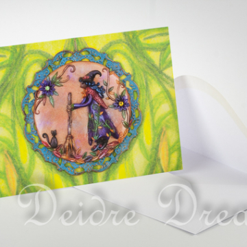 Overview of Witch Art Greeting Card and Envelope