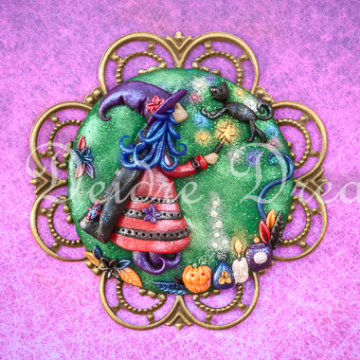 Witch Levitating Black Cat design on Greeting Card