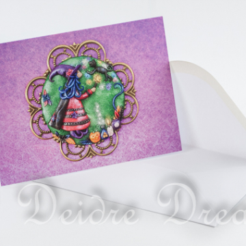 Photo of Witch Levitating Black Cat Greeting Card and White Envelope