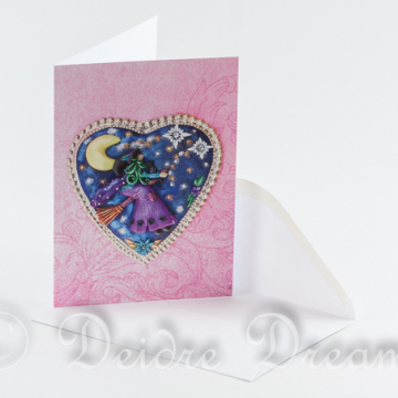 Photo of witch on broomstich greeting card and white envelope