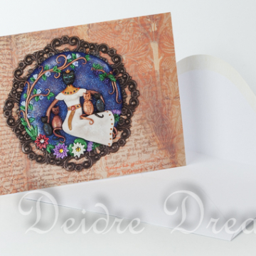 Overview of Bastet Greeting Card with White Envelope