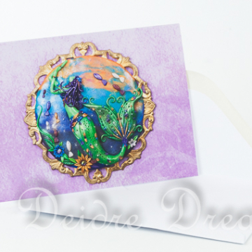 Moira the Sunset Chaser Mermaid Art Greeting Card with White Envelope