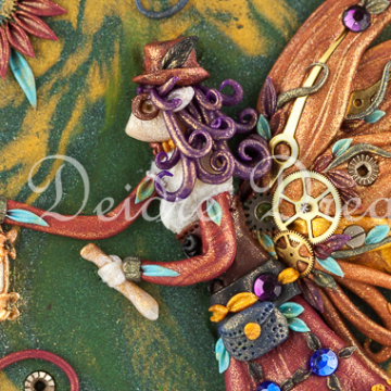Photo of steampunk fairy design on greeting card