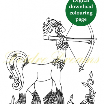 Sagittarius centaur colouring page with sticker and watermark