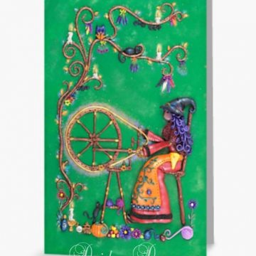 Witch at Spinning Wheel Greeting Card