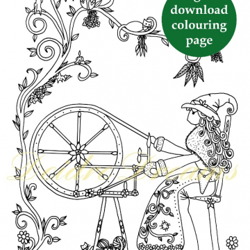 Witch at spinning wheel colouring page with sticker and watermark