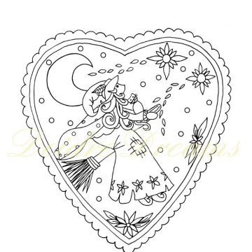 Witch colouring page with watermark