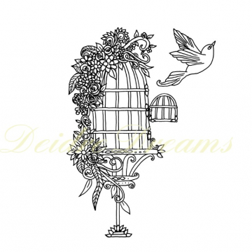 Ornamental birdcage colouring page with watermark