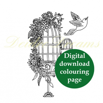 Ornamental birdcage colouring page with sticker and watermark