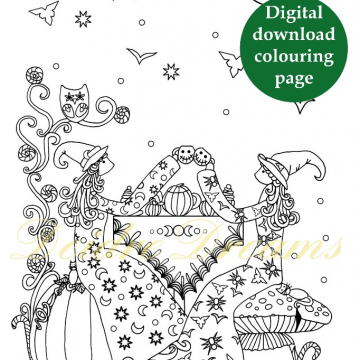 Witches tea party colouring page with sticker and watermark