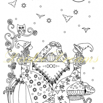 Witches tea party colouring page with watermark