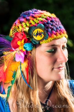 Rainbow Song - Crochet Skullcap Rainbow Headdress | Deidre Dreams