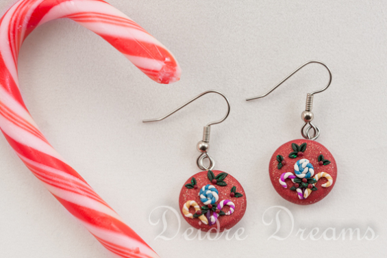 Polymer Clay Christmas Jewelry.Christmas Candy Hand Sculpted Polymer Clay Christmas Candy