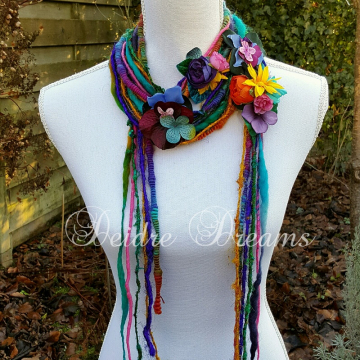 Long Rainbow Hippie Flower Art Yarn Scarf