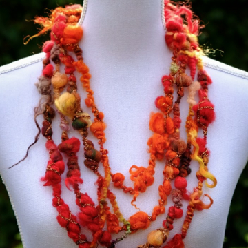Fire Colours Art Yarn Necklace - Boa Bubble Necklace - Infinity Shawl