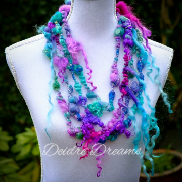 Water Colours Shawl Necklace - Statement Necklace - Multi Strand Layered Art Yarn Necklace - Infinity Shawl