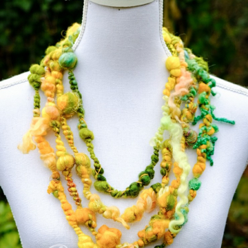 Green and Yellow Bubble Necklace - Art Yarn Necklace - Wool Cowl