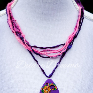 Pink and Purple Art Yarn Necklace with Polymer Clay Flower Pendant
