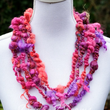 Pink and Purple Statement Necklace - Infinity Scarf - Multi Strand Layered Art Yarn Necklace