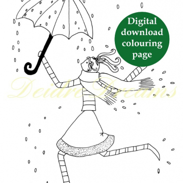 Dancing in the Rain - Girl with umbrella digital download coloring page