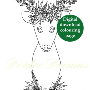 Deer with flower crown colouring page - Digital download coloring page