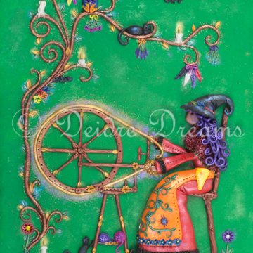 Witch at Spinning Wheel Art Print - 20x30 cm