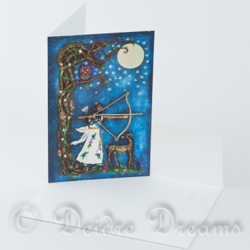 Diana Goddess of the Moon and Hunt Greeting Card